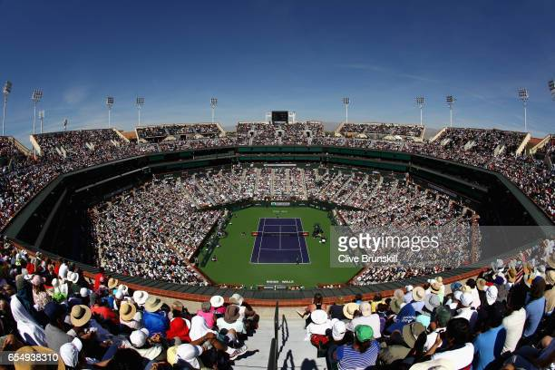 General view of Centre Court as Roger Federer of Switzerland plays against Jack Sock of the United States in their semi final match during day...