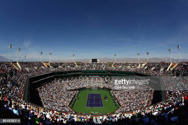 A general view of Centre Court as Roger Federer of Switzerland plays against Jack Sock of the United States in their semi final match during day...