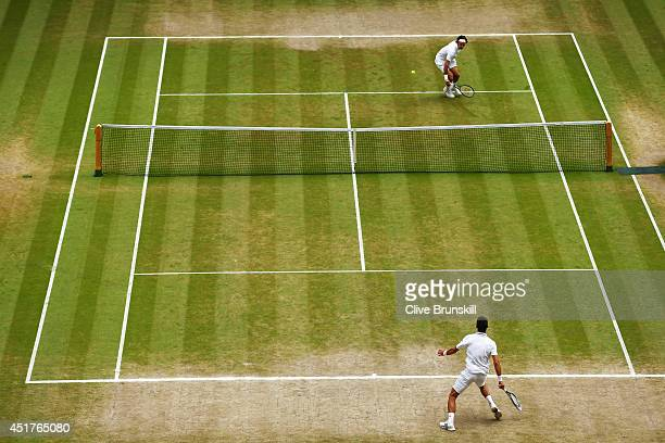 General view of centre court as Roger Federer of Switzerland returns during the Gentlemen's Singles Final match against Novak Djokovic of Serbia on...