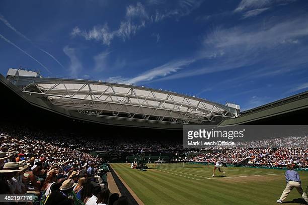 A general view of centre court as Serena Williams takes on Garbine Muguruza during the Ladies Final on day twelve of the Wimbledon Lawn Tennis...