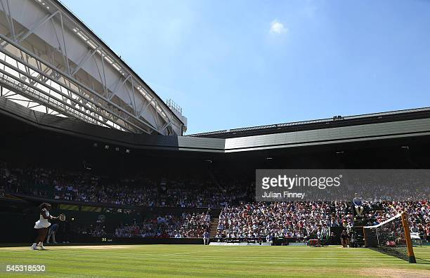 A general view of Centre Court as Serna Williams of The United States faces Elena Vesnina of Russia in the Ladies Singles Semi Final match on day ten...