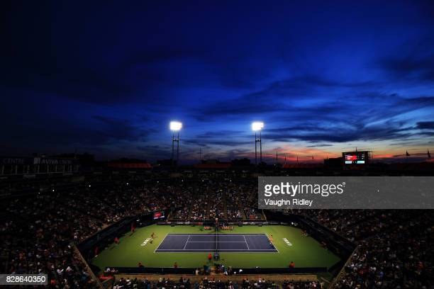 A general view of Centre Court as Simona Halep of Romania plays Magdalena Rybarikova of Slovakia during Day 5 of the Rogers Cup at Aviva Centre on...