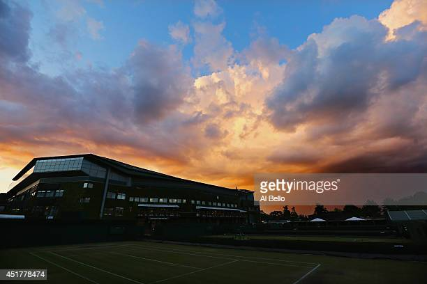 A general view of Centre Court as the Sun sets after the Gentlemen's Singles Final match between Novak Djokovic of Serbia and Roger Federer of...