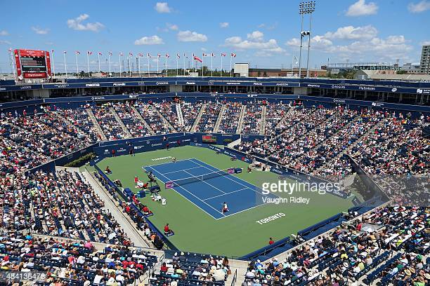 A general view of Centre Court during Day 6 of the Rogers Cup at the Aviva Centre on August 15 2015 in Toronto Ontario Canada