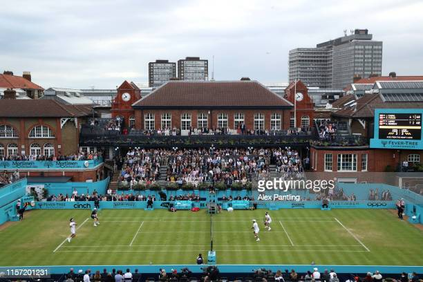 General view of centre court during the First Round Doubles match between Andy Murray of Great Britain, partner of Feliciano Lopez of Spain and Juan...