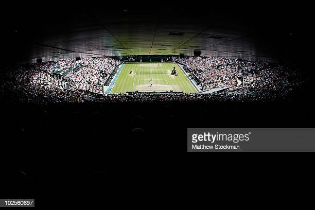 A general view of Centre Court during the Ladies Semi Final match between Tsvetana Pironkova of Bulgaria and Vera Zvonareva of Russia on Day Ten of...