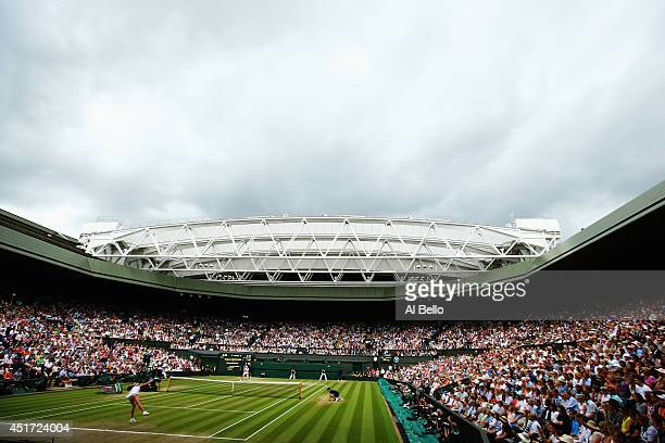 A general view of centre court during the Ladies' Singles final match as Eugenie Bouchard of Canada serves against Petra Kvitova of Czech Republic on...