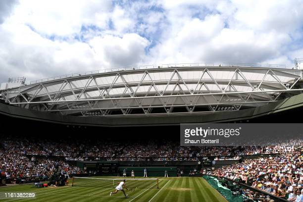 General view of centre court during the Ladies' Singles semi-final match between Simona Halep of Romania and Elina Svitolina of Ukraine during Day...