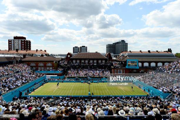 A general view of centre court during the match between Kyle Edmund of Great Britain and Nick Kyrgios of Australia during Day four of the FeverTree...