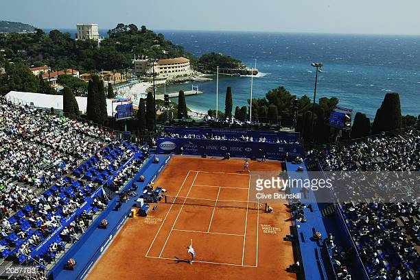 A general view of Centre Court during the match between Yevgeny Kafelnikov of Russia and Younes El Aynaoui of Morocco during the first round of the...