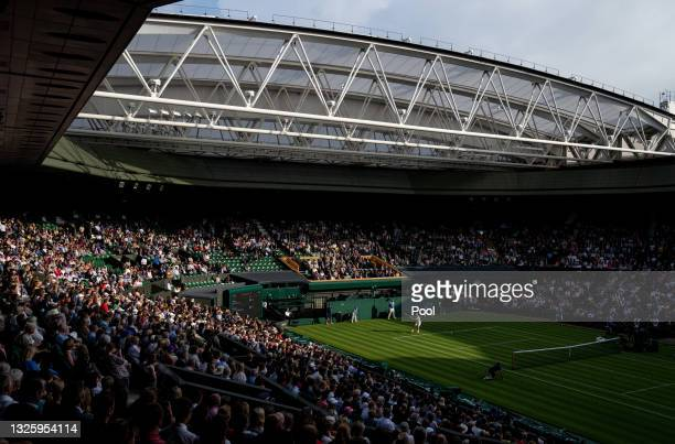 General view of centre court during the Men's Singles First Round match between Andy Murray of Great Britain and Nikoloz Basilashvili of Georgia...