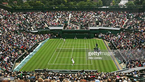 A general view of Centre Court during the Men's Singles first round match between Roger Federer of Switzerland and Teimuraz Gabashvili of Russia...