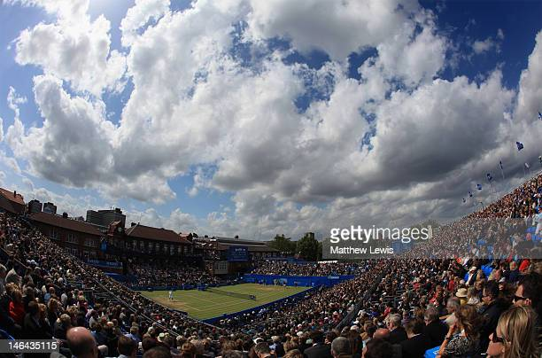 A general view of Centre Court during the mens singles semifinal match between Marin Cilic of Croatia and Sam Querrey of the USA on day six of the...