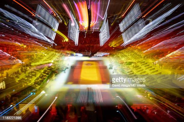 General view of Centre Court during the opening ceremony as the Spanish flag is seen during Day one of the 2019 Davis Cup at La Caja Magica on...