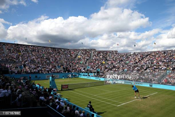 General view of centre court during the Second Round Match between Stefanos Tsitsipas of Greece and Jeremy Chardy of France during day Four of the...
