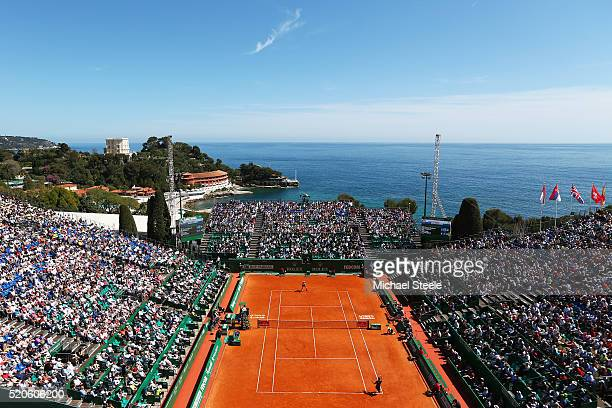 A general view of centre court during the second round match between PierreHughes Herbert of France and Andy Murray of Great Britain on day three of...