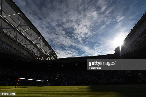 A general view of Centre Court during the semi final match between Andy Murray of Great Britain and Tomas Berdych of Czech Republic at Wimbledon on...