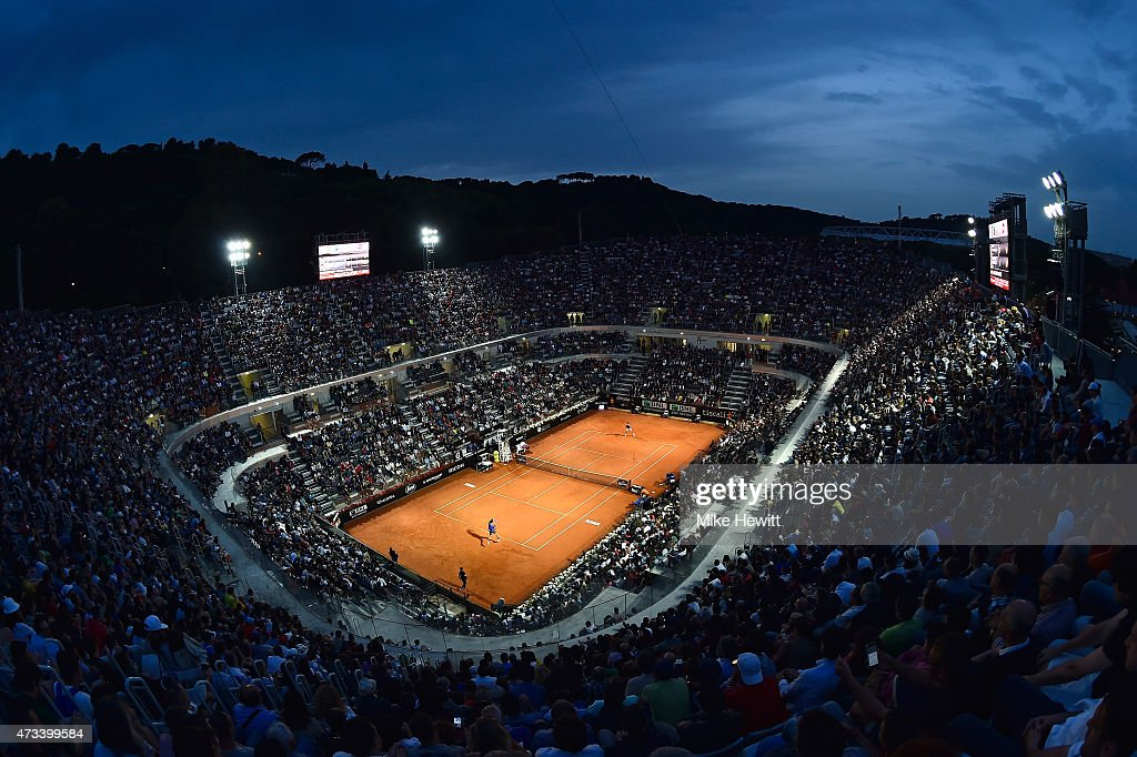 General view of Centre Court during the Thiird Round match between Novak Djokovic of Serbia and Thomaz Bellucci of Brazil on Day Five of The Internazionali BNL d'Italia 2015 at the Foro Italico on May 14, 2015 in Rome, Italy.