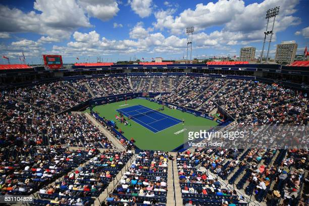 A general view of Centre Court during the Women's Final between Elina Svitolina of Ukraine and Caroline Wozniacki of Denmark on Day 9 of the Rogers...