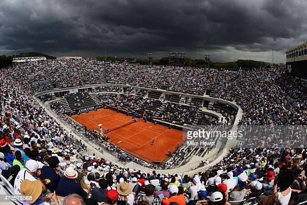 A general view of Centre Court during the Women's Semi Final between Carla Suarez Navarro of Spain and Simona Halep of Romania on Day Seven of The...