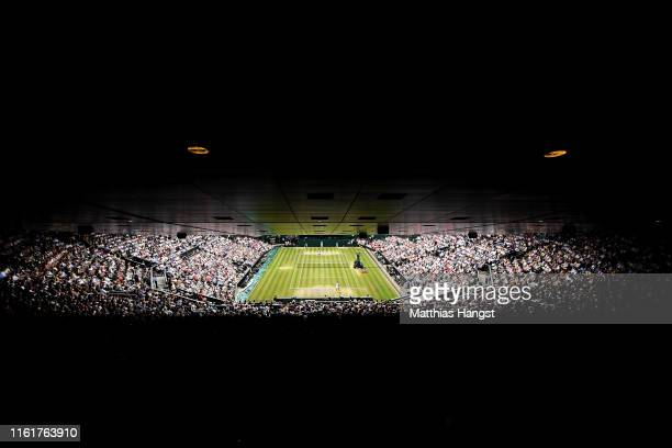 General view of centre court in the Ladies' Singles final between Simona Halep of Romania and Serena Williams of The United States during Day twelve...