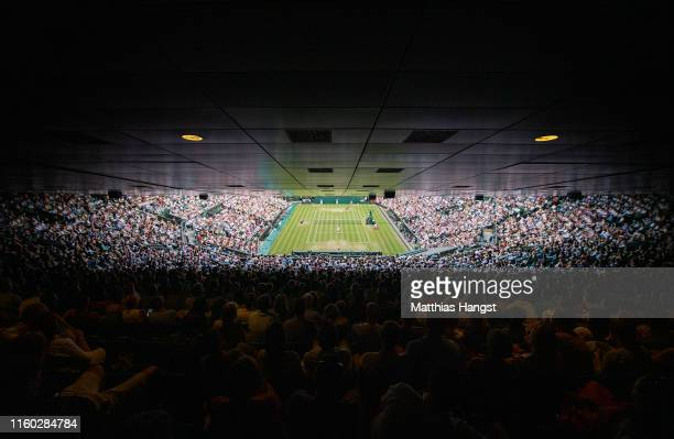 General view of centre court in the Ladies' Singles third round match between Cori Gauff of The United States and Polona Hercog of Slovenia during...