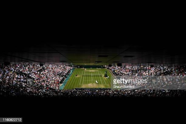 General view of centre court in the Men's Singles Fourth Round match between Roger Federer of Switzerland and Matteo Berrettini of Italy during Day...