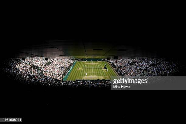 General view of centre court in the Men's Singles semi-final match between Roger Federer of Switzerland and Rafael Nadal of Spain during Day eleven...