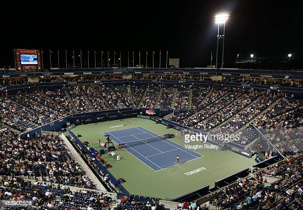A general view of Centre Court on Day 4 of the Rogers Cup at the Aviva Centre on August 13 2015 in Toronto Ontario Canada
