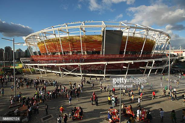 General view of centre court on Day 6 of the 2016 Rio Olympics at the Olympic Tennis Centre on August 11, 2016 in Rio de Janeiro, Brazil.