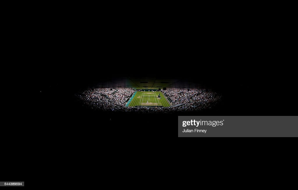A general view of centre court on Middle Sunday of the Wimbledon Lawn Tennis Championships at the All England Lawn Tennis and Croquet Club on July 3, 2016 in London, England.