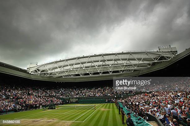 A general view of Centre Court prior to the Men's Singles Final between Andy Murray of Great Britain and Milos Raonic of Canada on day thirteen of...