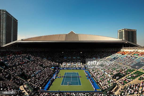 A general view of centre court while Agnieszka Radwanska of Poland plays Nadia Petrova of Russia during the womens final during day seven of the...