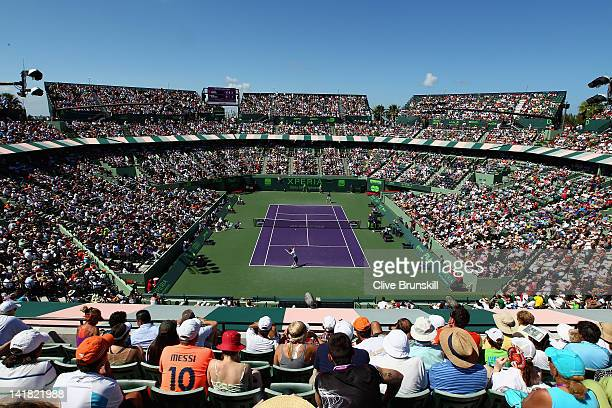 General view of centre court whilst Roger Federer of Switzerland plays against Ryan Harrison of the USA in their second round match at the Sony...