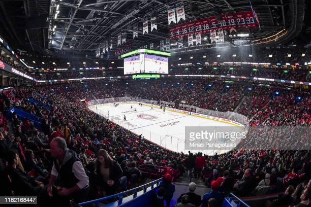A general view of centre ice in the game between the Montreal Canadiens and the Minnesota Wild during the second period at the Bell Centre on October...