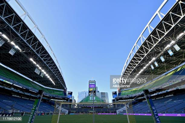 A general view of CenturyLink Field before the MLS soccer match between the Seattle Sounders and the New York Red Bulls at CenturyLink Field on...