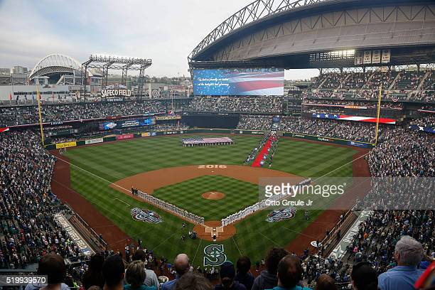 A general view of ceremonies prior to the home opener between the Seattle Mariners and the Oakland Athletics at Safeco Field on April 8 2016 in...