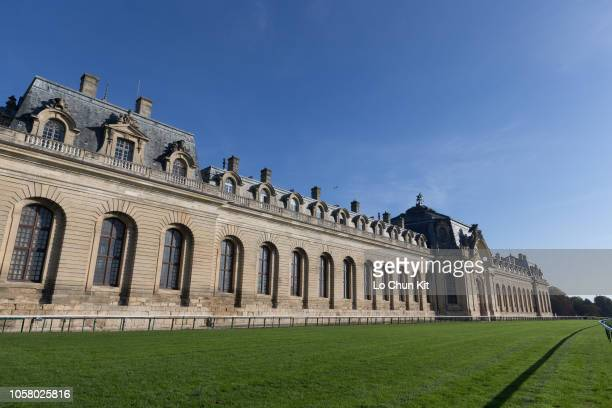 General view of Chantilly racecourse with Great Stables background on October 8 2018 in Chantilly France