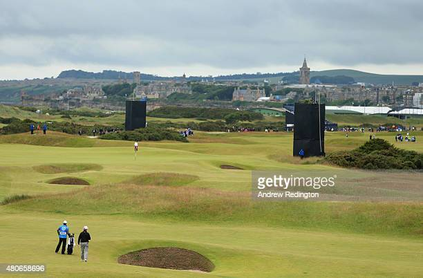 A general view of Charley Hoffman of the United States on the 13th ahead of the 144th Open Championship at The Old Course on July 14 2015 in St...