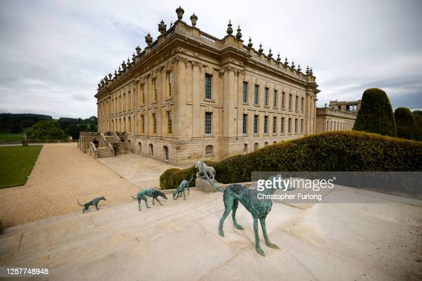 General view of Chatsworth House as the Derbyshire stately home prepares to reopen to the public after the coronavirus pandemic lockdown on July 23,...