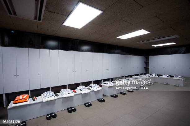 A general view of Chelsea FC dressing room before the UEFA Champions League Round of 16 Second Leg match between FC Barcelona and Chelsea FC at Camp...
