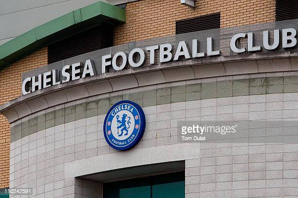 A general view of Chelsea Football Club logo on March 16 2011 in London England