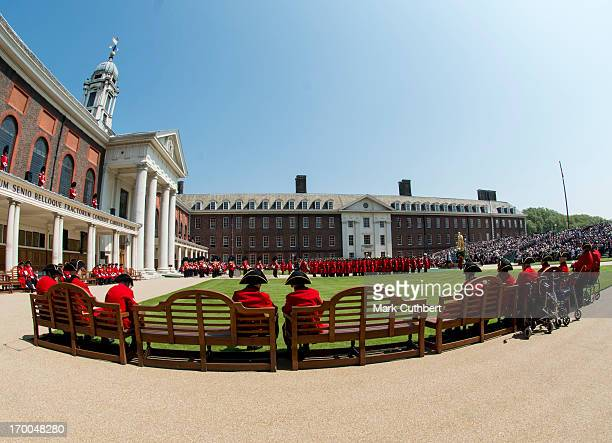 General view of Chelsea Pensioners during the Founder's Day Parade at The Royal Hospital Chelsea on June 6, 2013 in London, England.