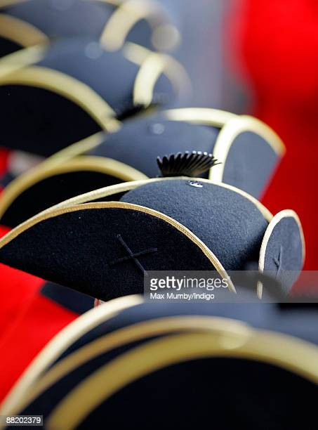 General view of Chelsea Pensioners hats during the annual Founders Day Parade at Royal Hospital Chelsea on June 4, 2009 in London, England.