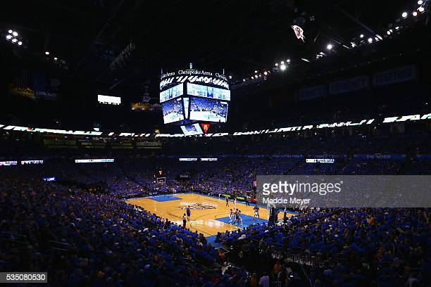 A general view of Chesapeake Energy Arena during the first half in game six of the Western Conference Finals between the Oklahoma City Thunder and...