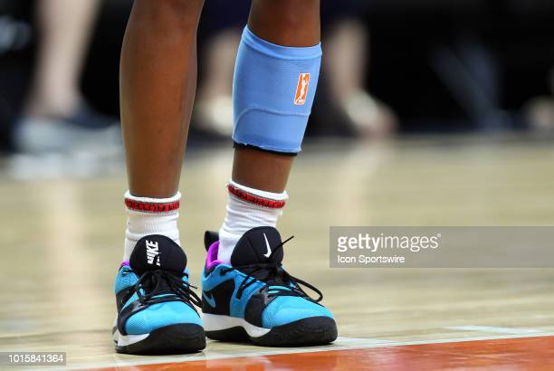 A general view of Chicago Sky guard Diamond DeShields sneakers and calf sleeve during a WNBA game between Chicago Sky and Connecticut Sun on August...