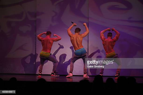 A general view of Chippendales performers dancing during the 35th anniversary celebration of Chippendales at the Rio Hotel Casino on September 20...