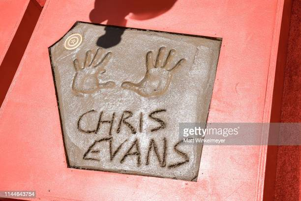 A general view of Chris Evans' handprint at the Marvel Studios' 'Avengers Endgame' Cast Place Their Hand Prints In Cement At TCL Chinese Theatre IMAX...
