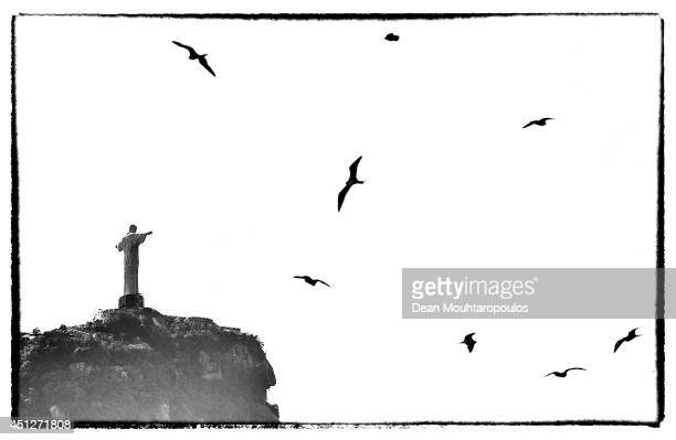 A general view of Christ the Redeemer a statue of Jesus Christ as bird fly during the Netherlands training session at the 2014 FIFA World Cup Brazil...