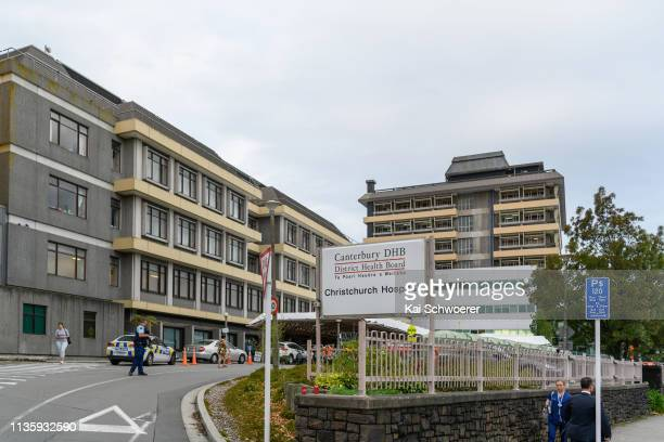 General view of Christchurch Hospital in lockdown on March 15 2019 in Christchurch New Zealand 49 people have been confirmed dead and more than 20...